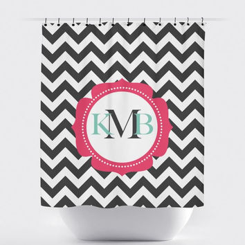 Gray/White Chevron Monogram Shower Curtain