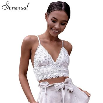 Simenual lace bralette crop top summer deep v neck vest bras 2018 backless strap bowknot women camisole bralet sale