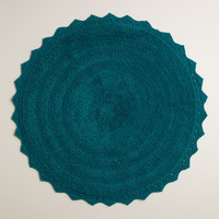 Ink Blue Round Bath Mat - World Market