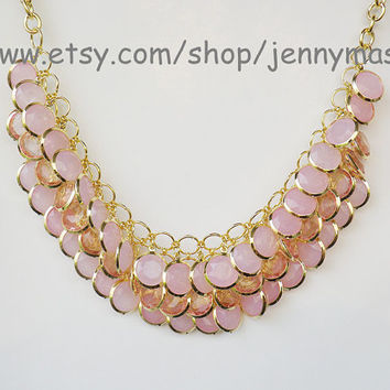 Translucent Pink Jewelry Wedding Necklace Bridesmaid Gift - Bubble Statement Necklace,Mermaid Necklace ,Turquoise necklace