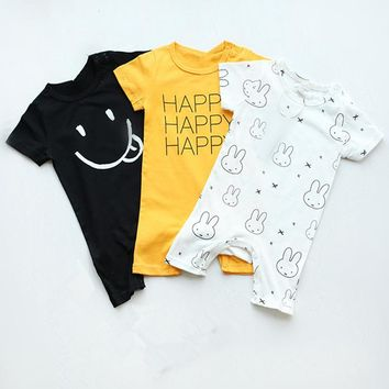 Baby Boys Tiny Cotton Rompers Girls Romper Infant Summer Shorts Sleeve Jumpsuit Letter Cartoon Print 2017 New Toddlers Clothes
