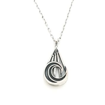 PEACE Mountain Wave Necklace - Sterling Silver