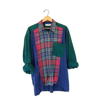 Oversized Plaid Button Up Shirt Flannel 90s Colorblock Grunge Vintage Boyfriend Long Sleeve Pocket Blouse Slouchy Baggy Prep Top Womens XXL
