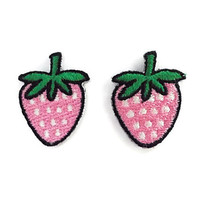 Set 2pcs. Pink Strawberry Patch - Mini Cute Pink Strawberry Fruit New Sew on / Iron Embroidered Applique Size 2.5cm.x3.2cm.