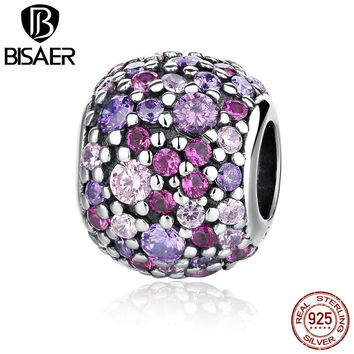 Genuine 925 Sterling Silver Pink Sparkles Pave Ball Beads Charms Pendant fit Original Charm Pandora Bracelet DIY Jewelry Making