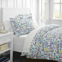 Merry Word Duvet Cover + Sham, Cool