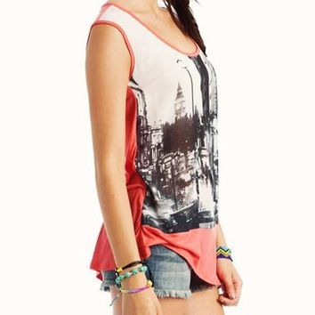 graphic-city-chiffon-top CORAL - GoJane.com