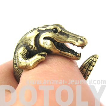 Large Crocodile Alligator Dragon Animal Wrap Around Hug Ring in Brass | US Size 4 to 9