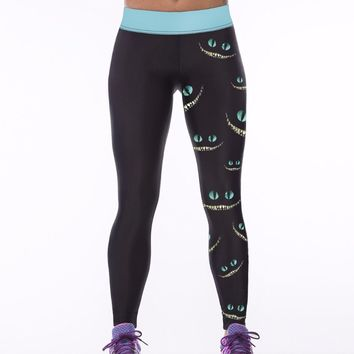 Sexy women's clothing 3D Cheshire Cat Smiling face Sporting Pants Casual Pencil Leggings fitness jogger Jeggings Workout Leggins