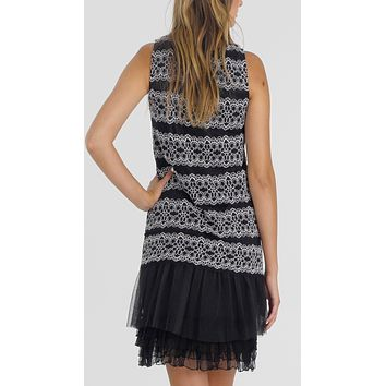 Stripe Lace Dress with Mesh Bottom