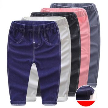 Spring Fall Jeans for Boys Girls Elastic Waist Pants Kids Solid Stretch Trousers Children Casual Denim Toddler Panties Clothes