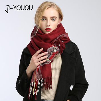 winter ladies scarves women high fashion 2017 plaid scarf poncho capes crinkle hijab warm cotton long women's knit wool scarf