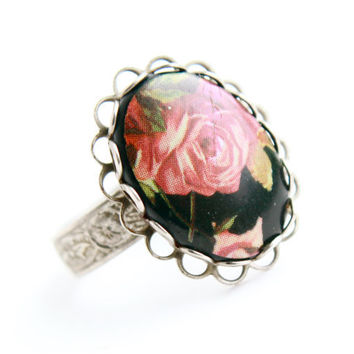 Vintage Flower Ring -  1950s Adjustable Silver Tone Statement Floral Pink Rose Costume Jewelry / Filigree Band
