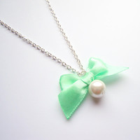 Romantic Mint Bow Necklace with pearls
