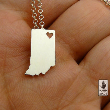 I Heart INDIANA  State necklace, tiny  sterling silver necklace,  custom heart