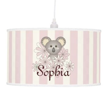 Cute animal personalized pastel pink striped ceiling lamps for girls' bedrooms: Baby Koala: Unique gift idea for baby girl showers
