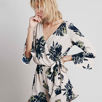White Floral Print V-Neck Long Sleeve Romper