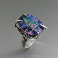 Handcrafted Fine Jewelry Blog by John S. Brana: 18.5 ct Cushion Cut Mystic Quartz Sterling Silver Cocktail Ring