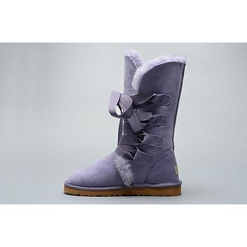 LFMON UGG 1005818 Tall Lace-Up Women Fashion Casual Wool Winter Snow Boots Purple
