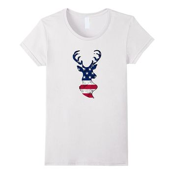 Deer Hunting USA Flag Shirt Funny Fathers Day 4th of July
