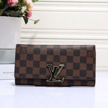 ESBON Louis Vuitton' Women Classic Logo Letter Lock Long Section Purse Button Flip Wallet