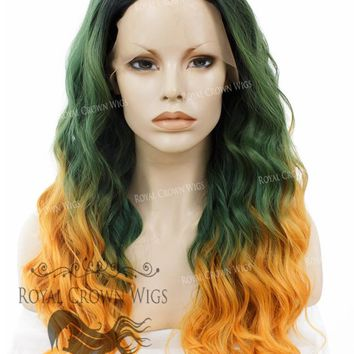 """24 inch Heat Safe Synthetic Lace Front """"Ada"""" with Wavy Texture in Green to Orange Ombre"""