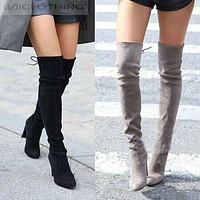 Stretch Suede Thigh High Over the Knee Boots -9 Color Options-