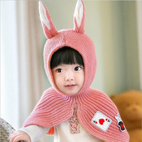 New 2017 Childrens Colorful Unique Rabbit Bunny Shawl-Hat for Kids
