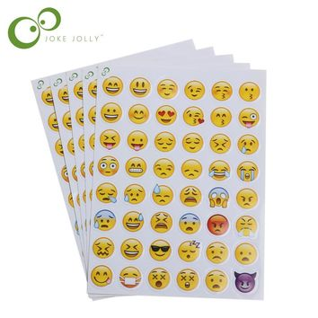 5 pcs 48 Smiley Face Emoji Stickers Sheet Adhesive Smile Emoticons Die Cut Sticker Toy for Children Laptop Notebook Twitter Viny