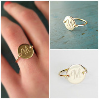 Gold Initial Ring Personalized Gift Monogram ring Bridesmaid Jewelry Bridesmaid gifts Best friend gift