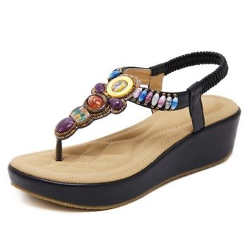2018 New Summer Gladiator Girls Sandals Bohemia Beach String Bead