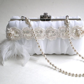 Luxury couture bridal purse clutch ivory white by BoudicaBags