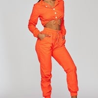 She's a Baddie Windbreaker Two Piece Set Neon Orange