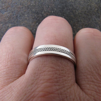 Mens Silver Inlayed Ring Wedding Band