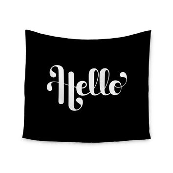 "Roberlan ""Hello"" White Black Wall Tapestry"