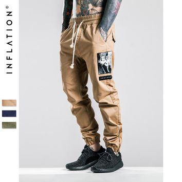 qiyif INFLATION Men Joggers Pants Denim Overalls Men Ankle-Tied New Biker Homme Ink-jet Prinitng Men Jopgger Pants