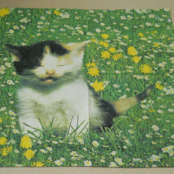 Square Cat Pillowcase Large Daisies and Grass Vintage 80s Green and Yellow Bedding