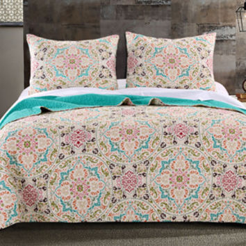 Morocco Gem Bohemian Inspired Quilt Bedding Boho Bed Set 3 Pc - Free Shipping