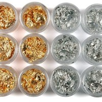 1 BOX 12 gold silver foil paillette nail art DIY Ongles:Amazon:Beauty