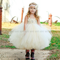 Ivory, Champagne, Flower Girl Dress, Tutu Dress, Newborn-24m, 2t,2t,4t,5t, 6, birthday