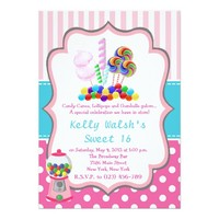 Candyland Candy Sweet 16 Birthday Invitation