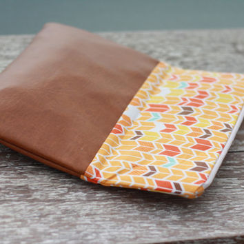 Fold over clutch, cotton and vegan leather clutch purse, orange chevron clutch, autumn color clutch