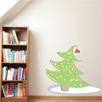 Christmas Tree with Heart Wall Decal - Vinyl Fabric - Vinyl Sticker - Chirstams Decoration -  CD68