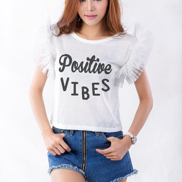 Positive Vibes T-Shirt Womens Gifts Womens Girls Tumblr Inspirational Quote Slogan Fangirls Teens Teenager Girl Gift Girlfriends Blogger