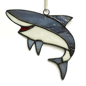 Shark Wall Decor Stained Glass Shark Sea Creature Ornament, Shark Decor Nautical Art, Shark Suncatcher Window Decoration Beach Ocean Coastal