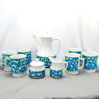 Japanese 12 Piece Tea Set Glazed Ceramic Blue Floral Tea Post Sugar Cream Six Cups Vintage Collectible Gift Item 2339BB