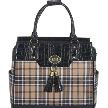 "ARRIVING LATE FEBRUARY -- ""MAD FOR PLAID"" Rolling Laptop Tote Holdall Bag"
