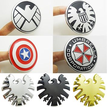 Metal Agents of SHIELD Skull Resident Evil Car Stickers Decoration America Captain the Hydra Umbrella Car Styling