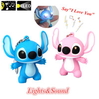 G0116 New Arrival Lilo & Stitch LED Flashlight Keychain with Sound Cute Action Figure Toys Gift Music Keychain