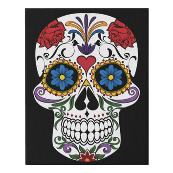 Colorful Sugar Skull Faux Canvas Print